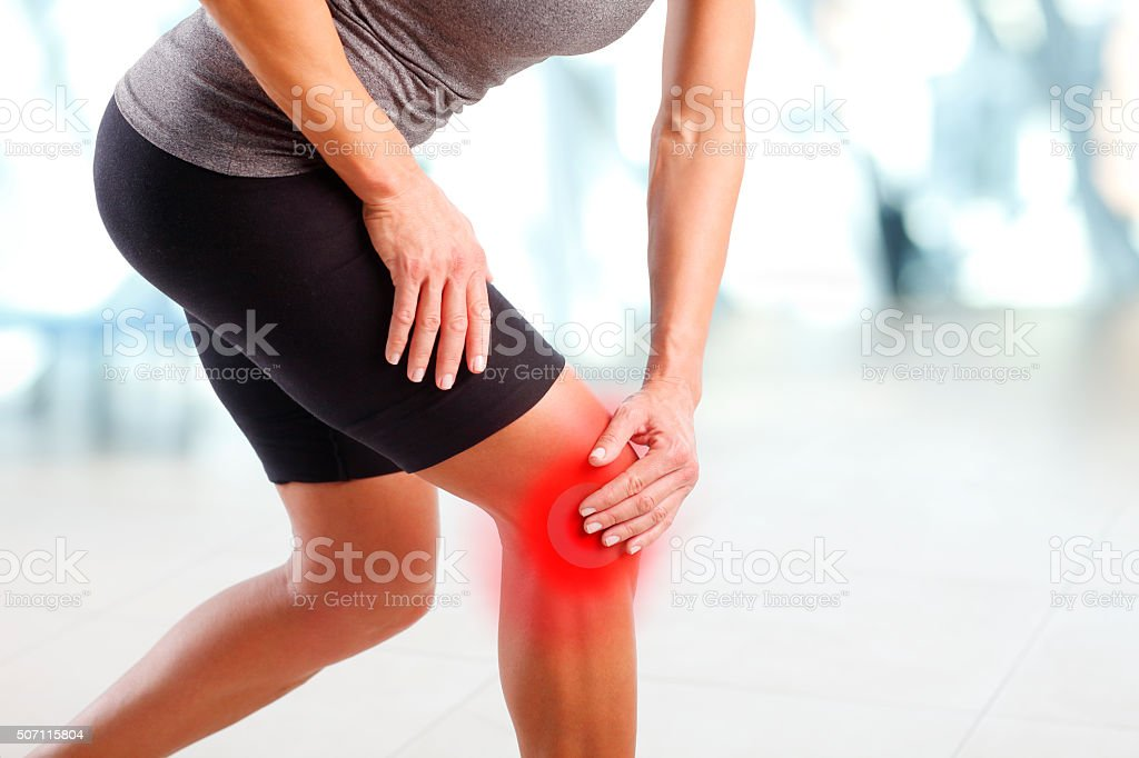 Pain in knee stock photo