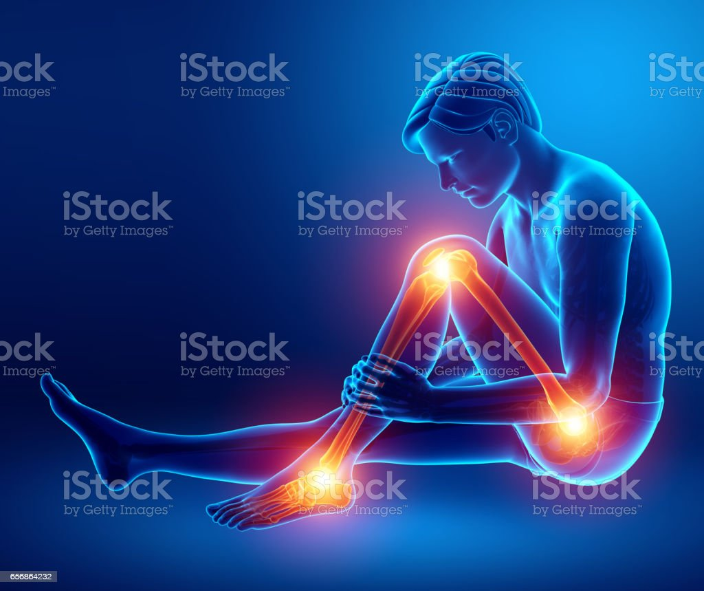 Pain in leg stock photo