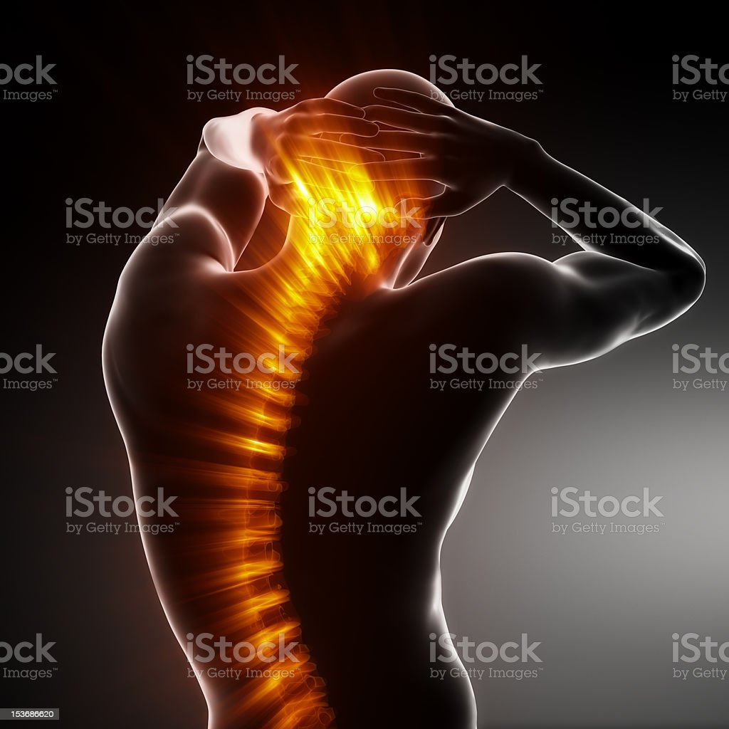 Pain in spine - medical concept stock photo