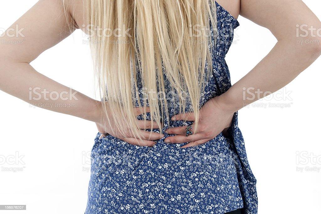 Pain in the back royalty-free stock photo