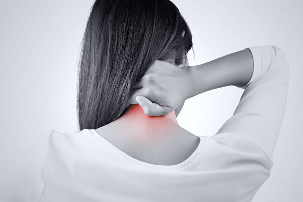 Pain in the back woman having pain in the back and neck, Pain in the back occipital lobe stock pictures, royalty-free photos & images