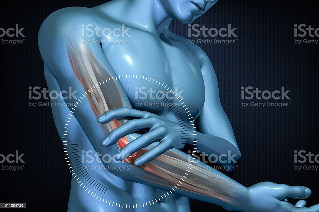 Pain in the elbow. Anatomic vision. stock photo