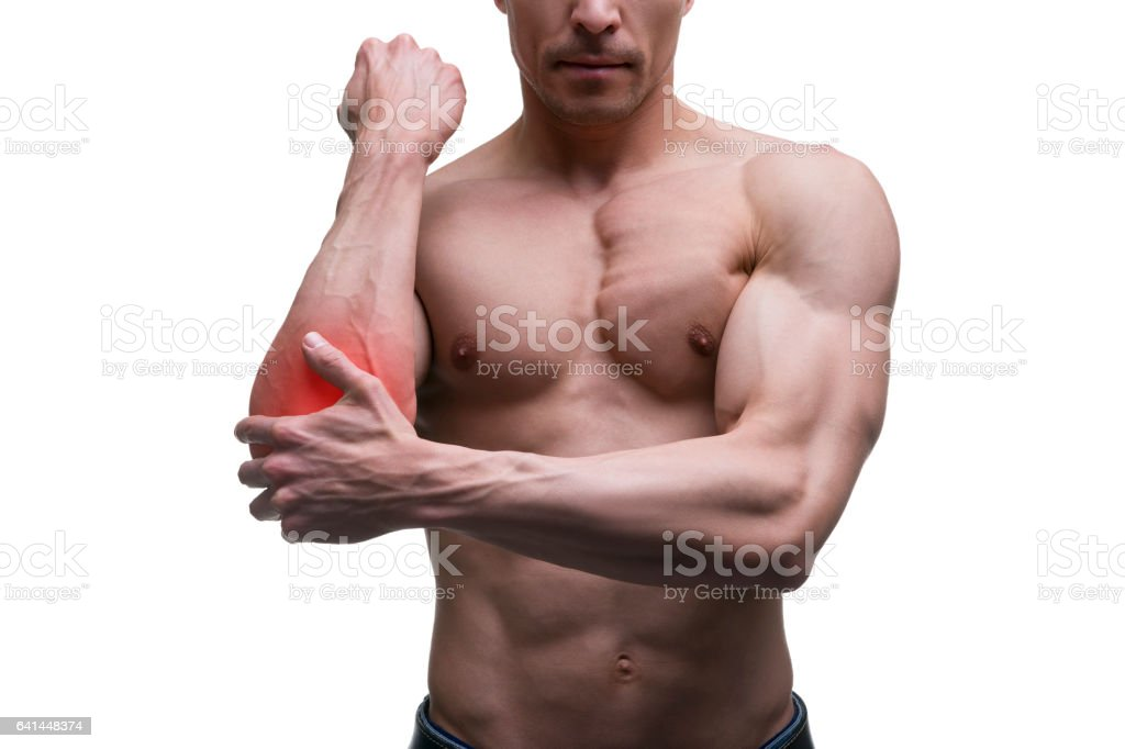 Pain In The Elbow Muscular Male Body Stock Photo More Pictures Of