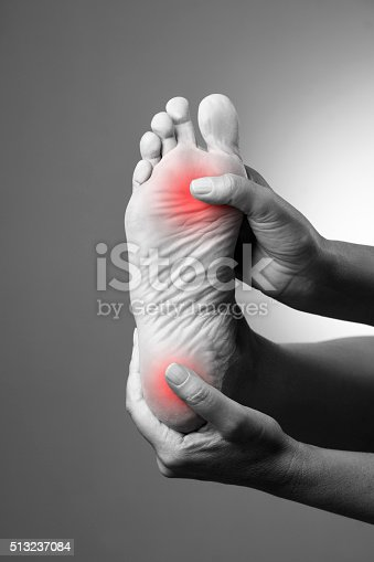 901404510istockphoto Pain in the foot on a gray background 513237084
