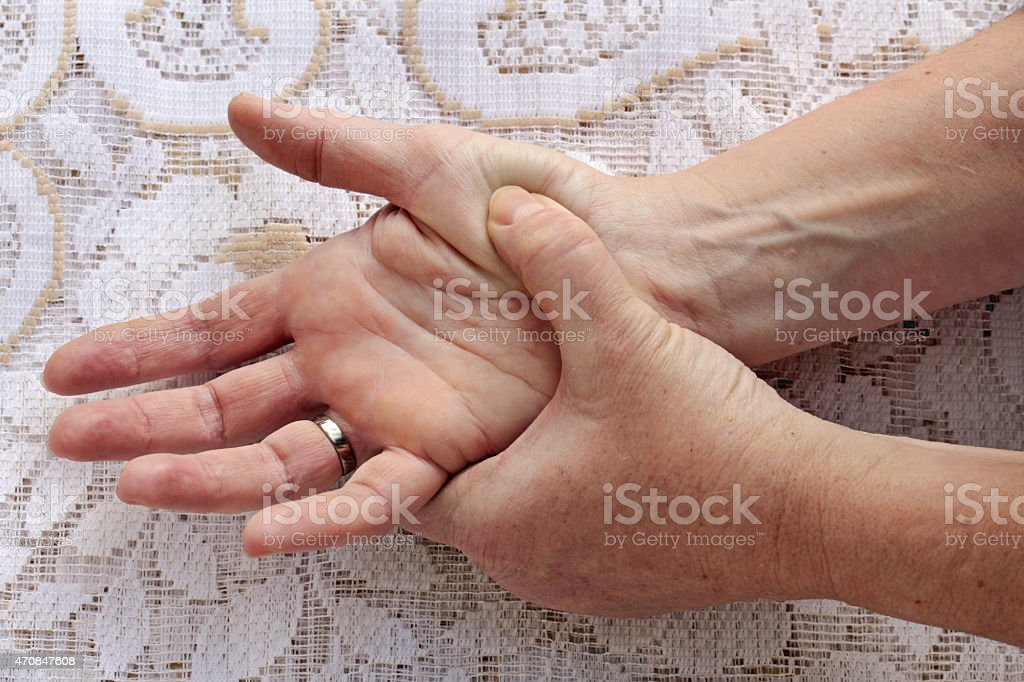 pain in the hands stock photo
