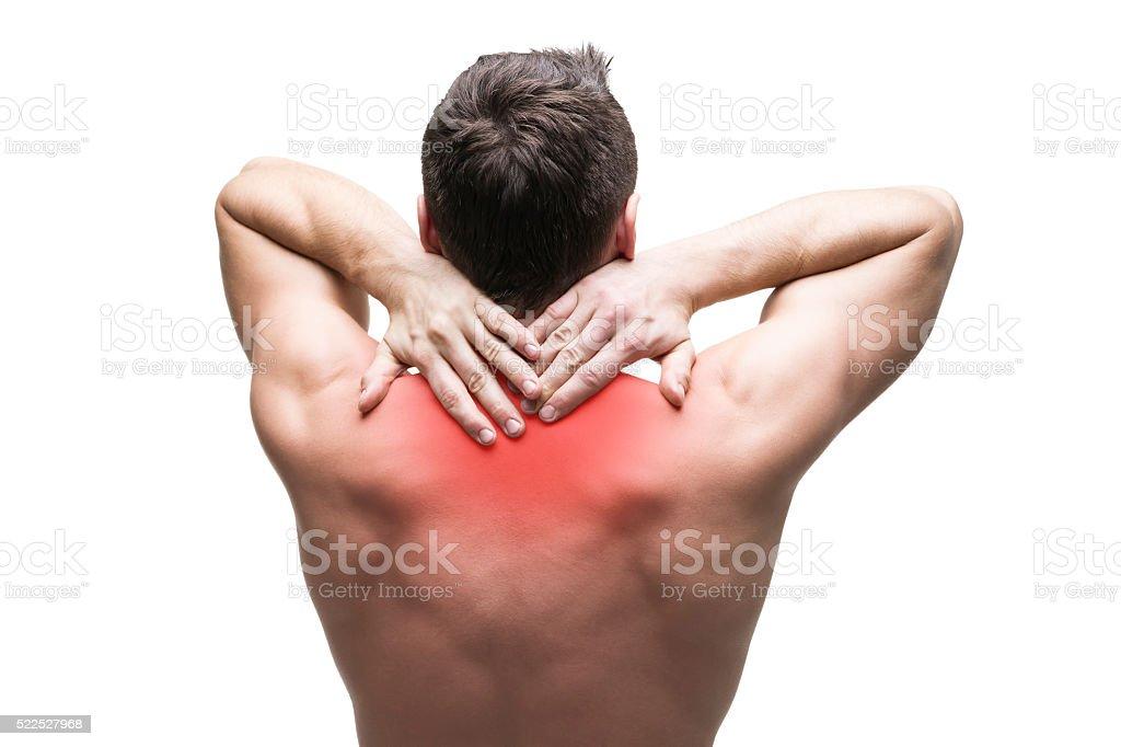 Schmerzen Im Hals Iisolated Auf Weißem Hintergrund Stock-Fotografie ...