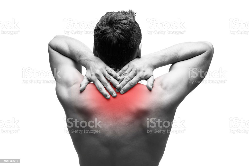 Pain in the neck isolated on white background stock photo