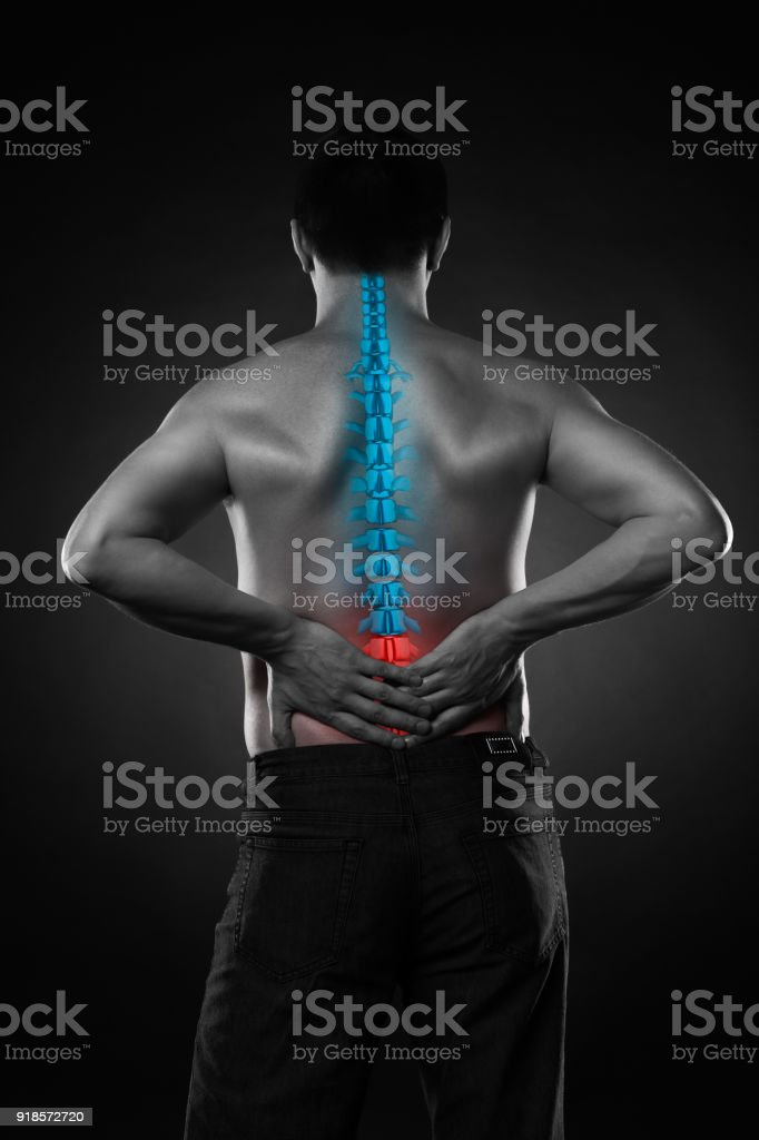 Pain In The Spine A Man With Backache Injury In The Lower Back Stock