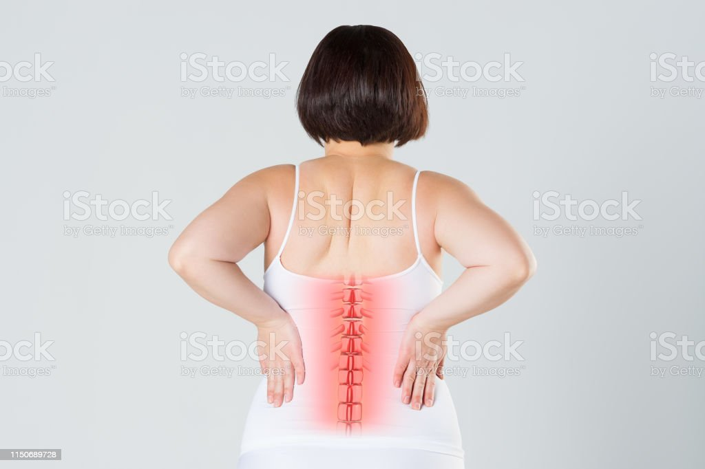 Pain in the spine, a woman with backache, injury in the human back,...