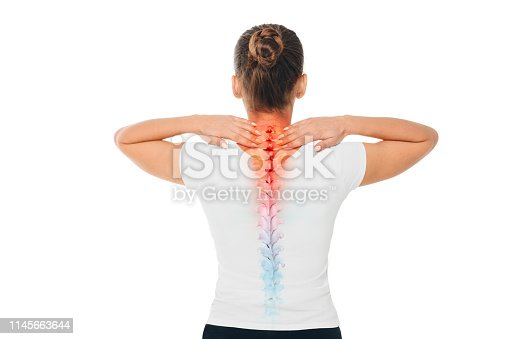 Pain in the spine. female back with backache, pain at cervical spine