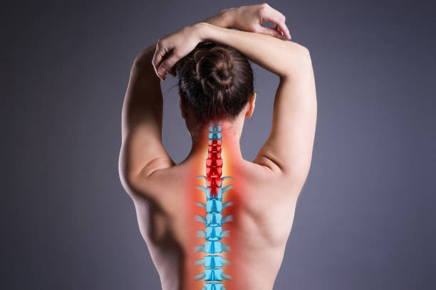 Pain in the spine, woman with backache on gray background, back injury Pain in the spine, woman with backache on gray background, back injury, photo with highlighted skeleton human neck stock pictures, royalty-free photos & images