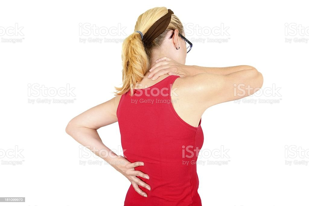 pain on back and neck royalty-free stock photo
