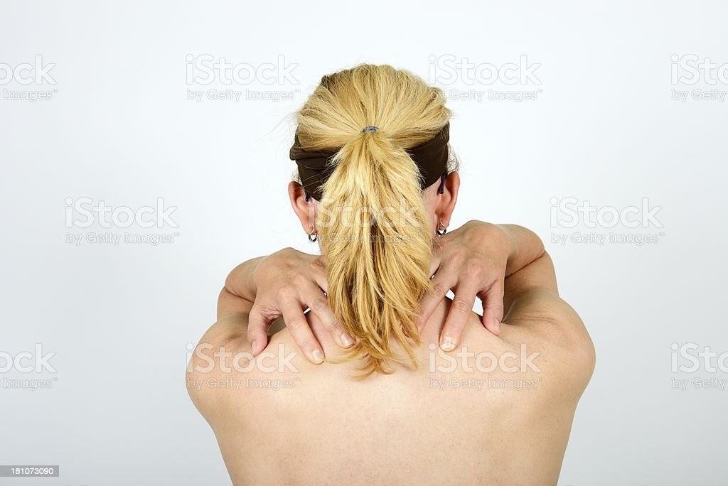 pain on neck royalty-free stock photo