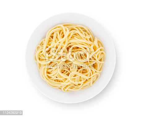 Plate of plain spaghetti isolated on white (excluding the shadow)