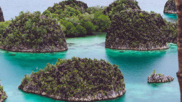 Painemo, Group of small island in shallow blue lagoon water, Raja Ampat, West Papua, Indonesia stock photo
