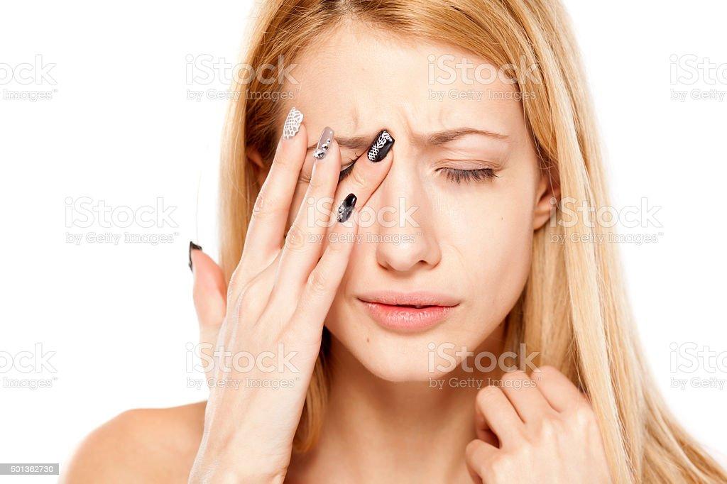 painful eye stock photo