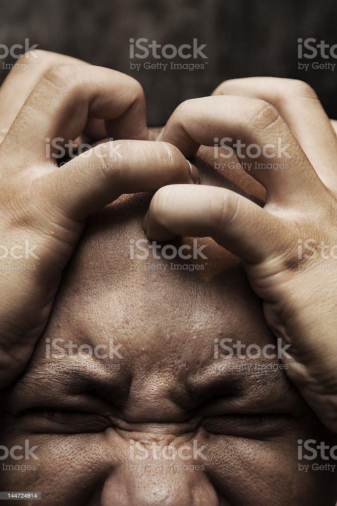 painful headache stock photo