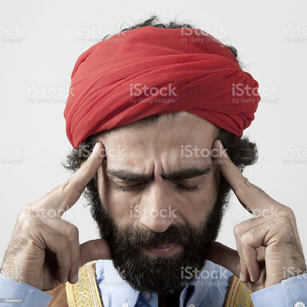 Painful headache royalty-free stock photo
