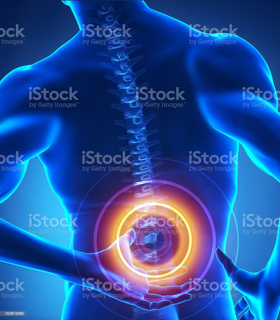 Painful human backbone stock photo