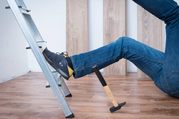 Painful worker after on the job injury stock photo