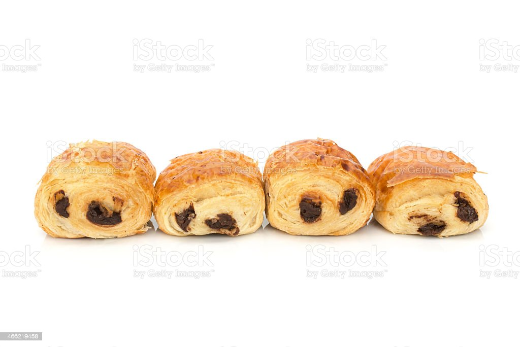 Pains au chocolat (french bakery products with chocolate) stock photo