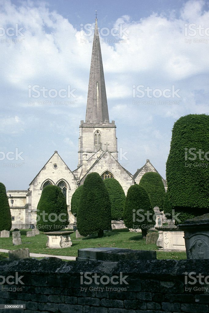 Painswick Church and Yew Trees in the Cotswolds, Gloucestershire stock photo