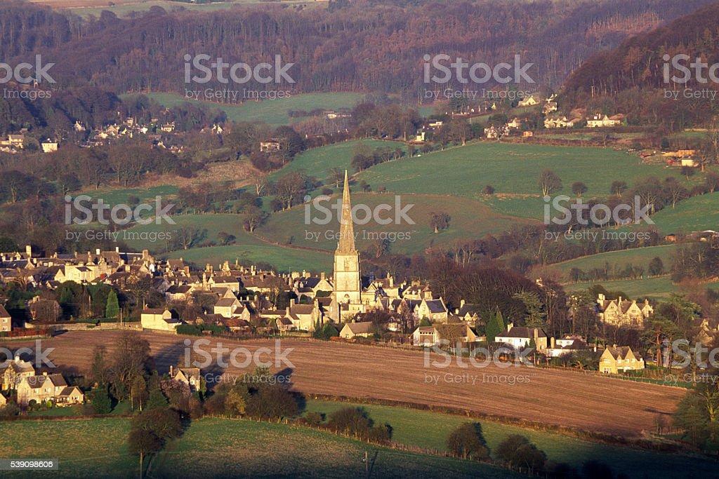 Painswick in evening sun, Cotswolds, Gloucestershire, UK stock photo
