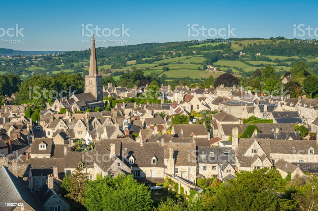 Painswick picturesque Cotswold village country church UK stock photo