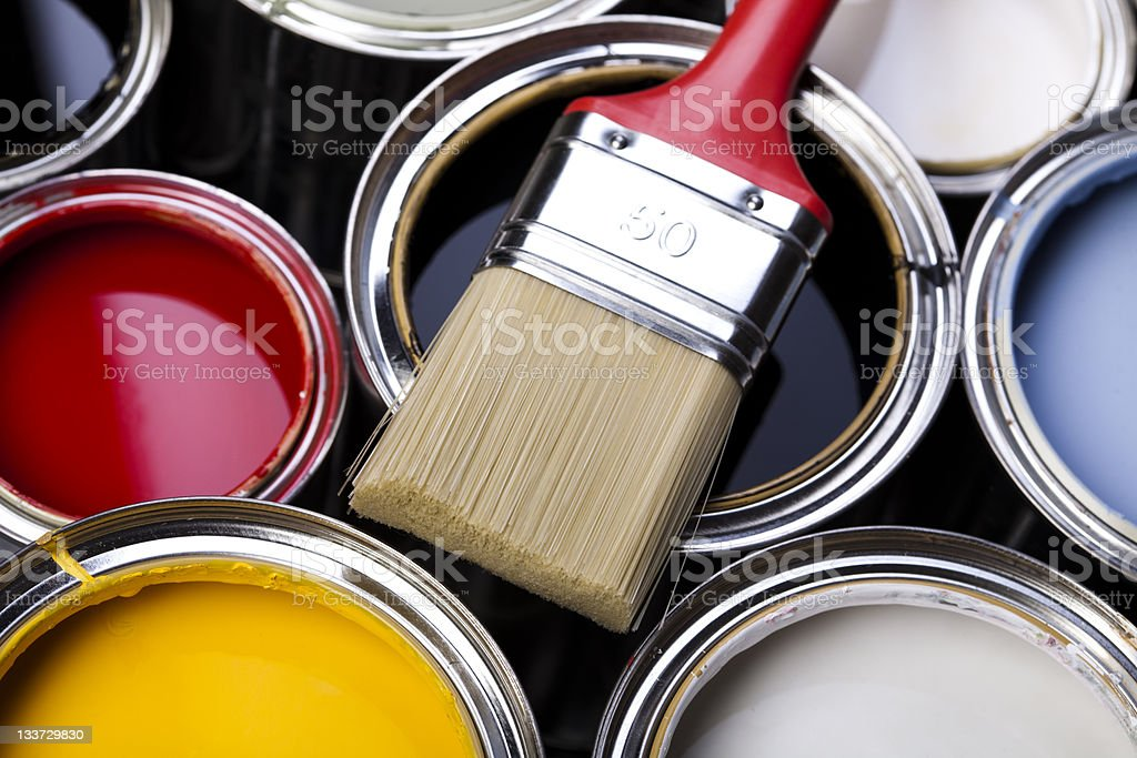 Paint and brush stock photo