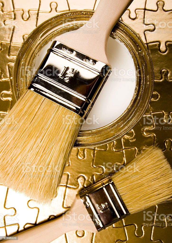 Paint and brush royalty-free stock photo