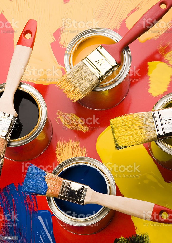 Paint and brushes royalty-free stock photo