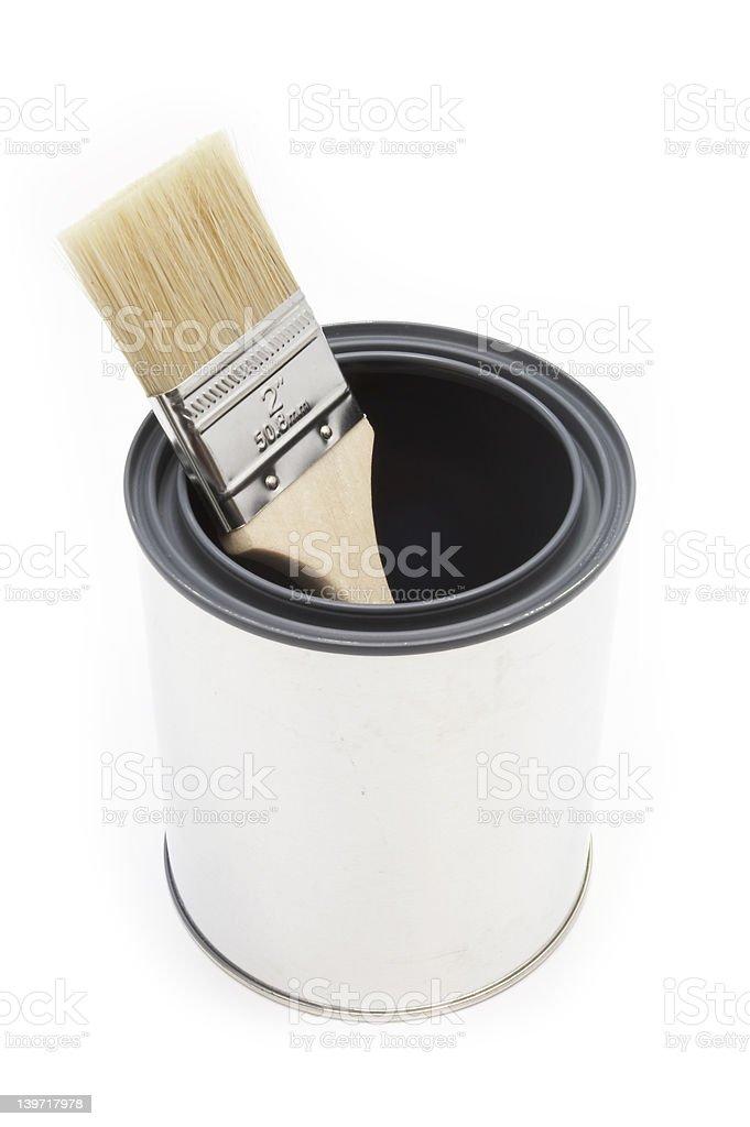 Paint brush and bucket royalty-free stock photo