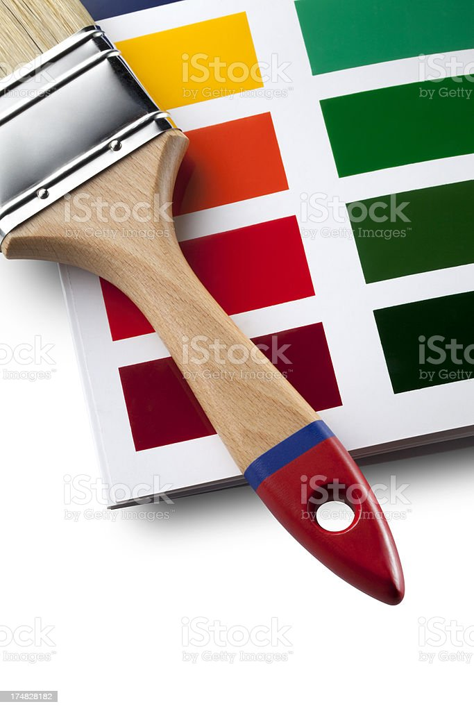 Paint brush on color card royalty-free stock photo