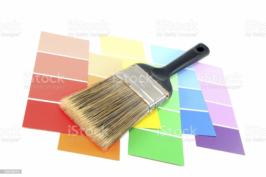 Paint Brush on Painting Chips royalty-free stock photo