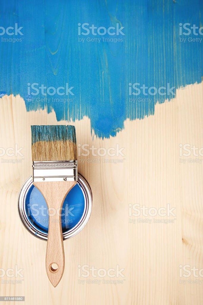 Paint brush on the can stock photo