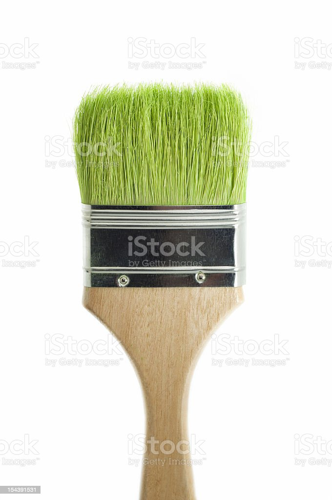 Paint brush with green grass stock photo