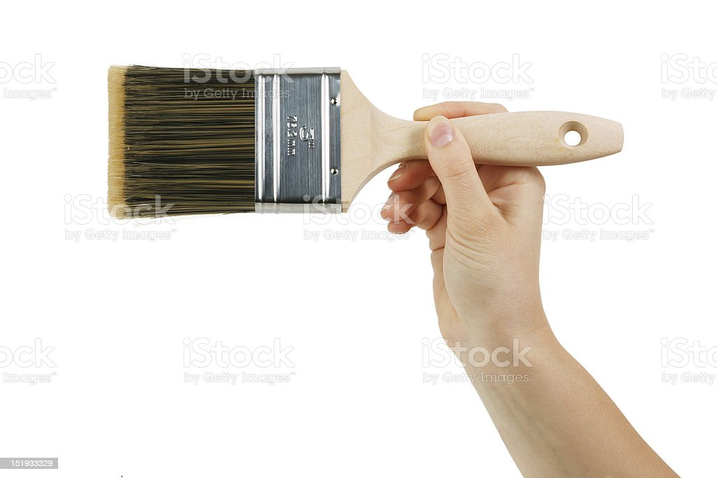 Paint brush with wooden handle royalty-free stock photo
