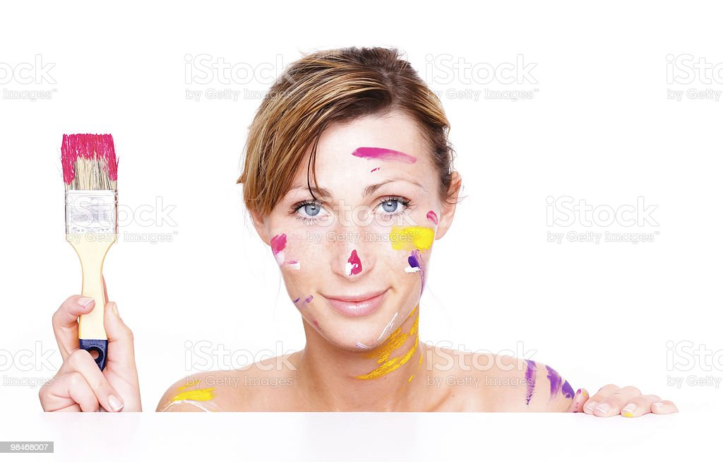 paint brush woman colors royalty-free stock photo