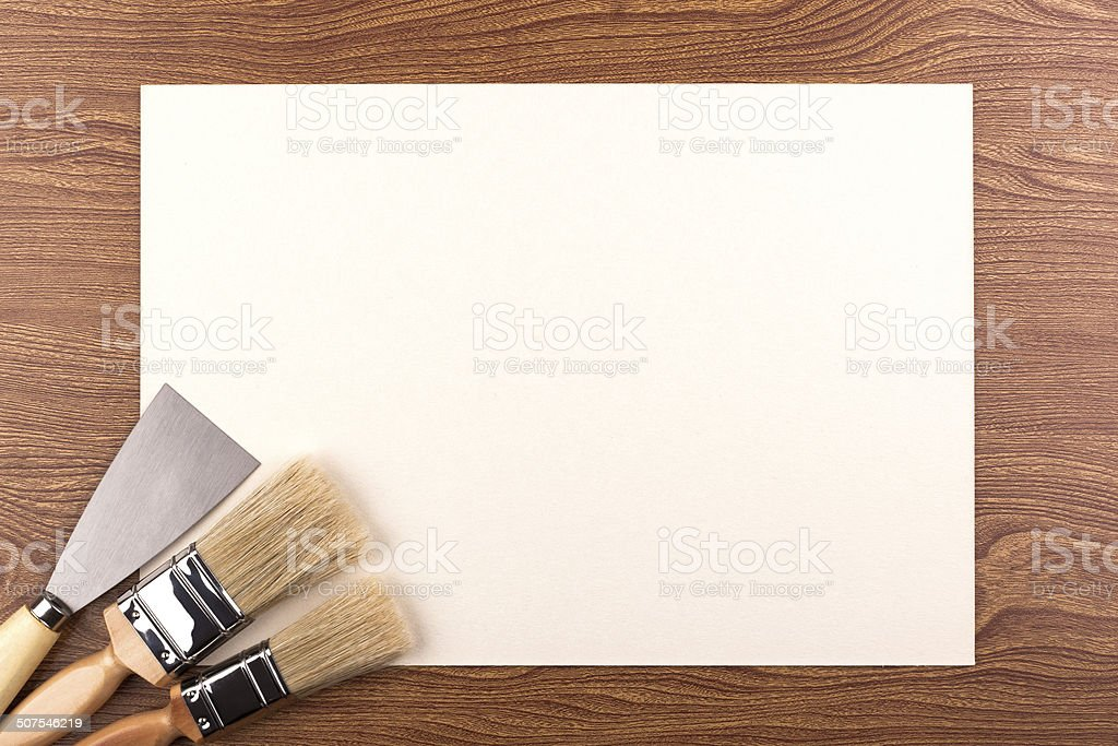 Paint brushes and a spatula. stock photo