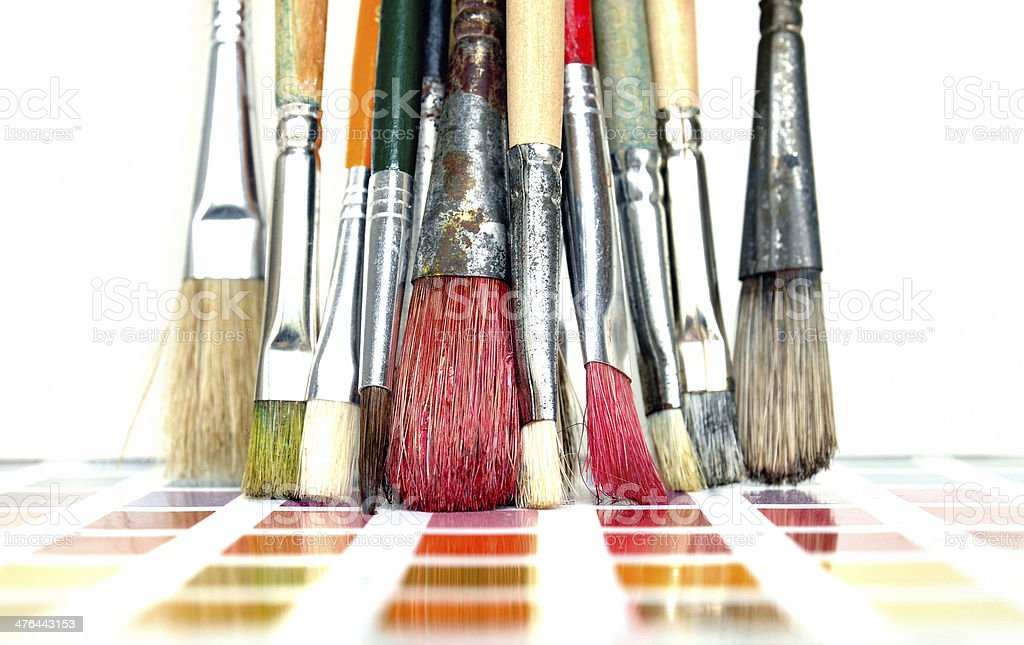 Paint brushes and color chart royalty-free stock photo