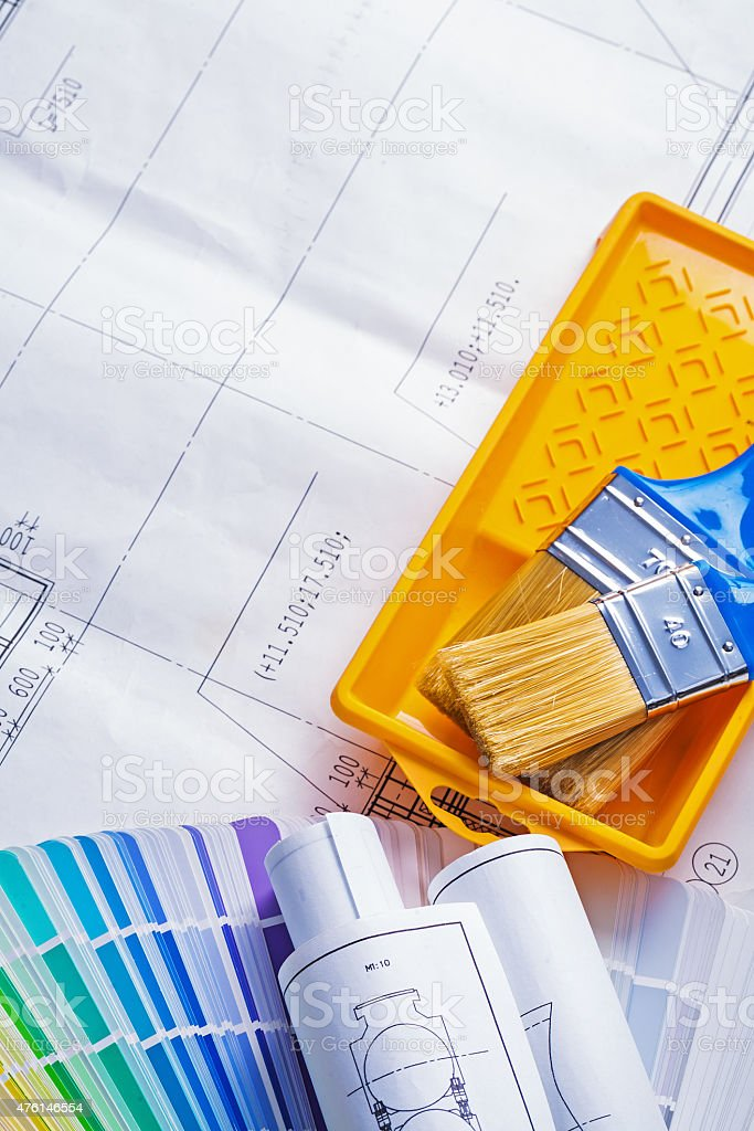 Paint brushes in tray rolled blueprints color palette stock photo paint brushes in tray rolled blueprints color palette royalty free stock photo malvernweather Image collections