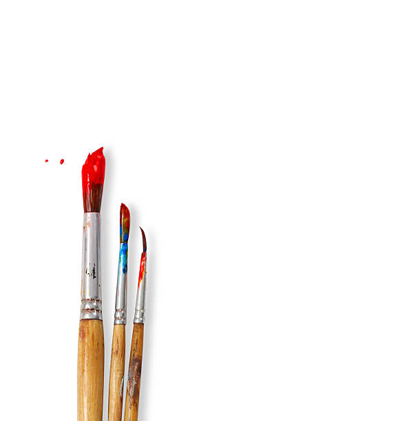 paint brushes isolated on white background paint brushes paintbrush stock pictures, royalty-free photos & images