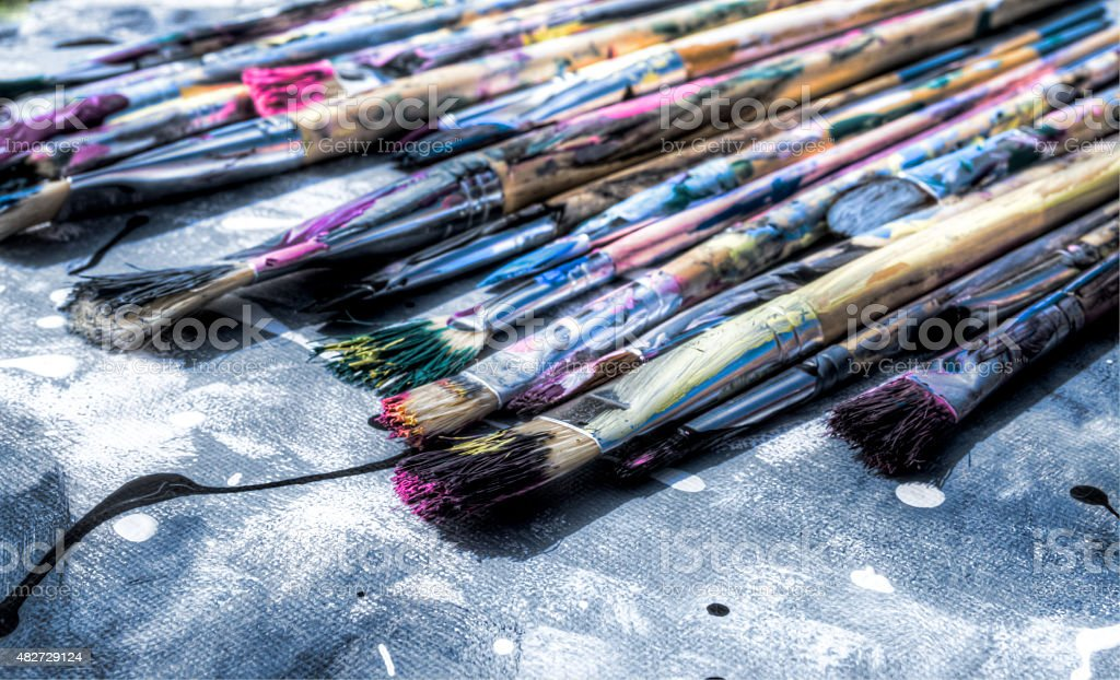 Paint Brushes on Canvas stock photo