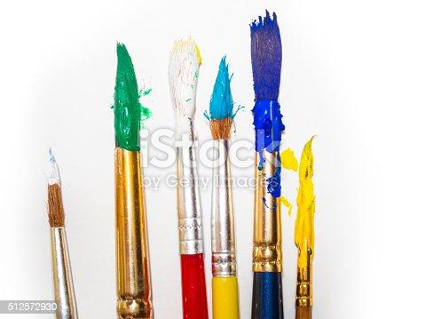 510006691 istock photo Paint brushes on white background 512572930