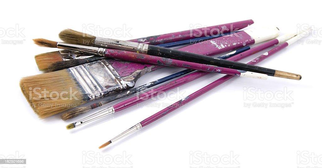 Paint brushes on white stock photo