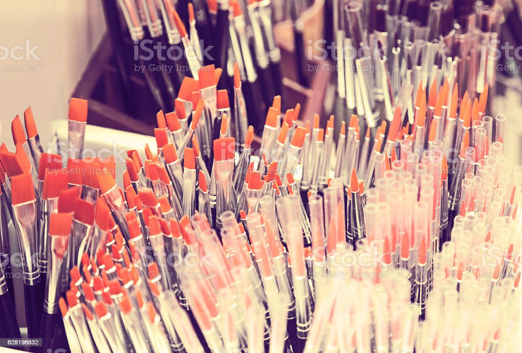paint brushes shop stock photo
