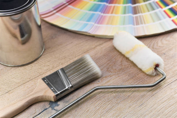 paint bucket - painter stock photos and pictures