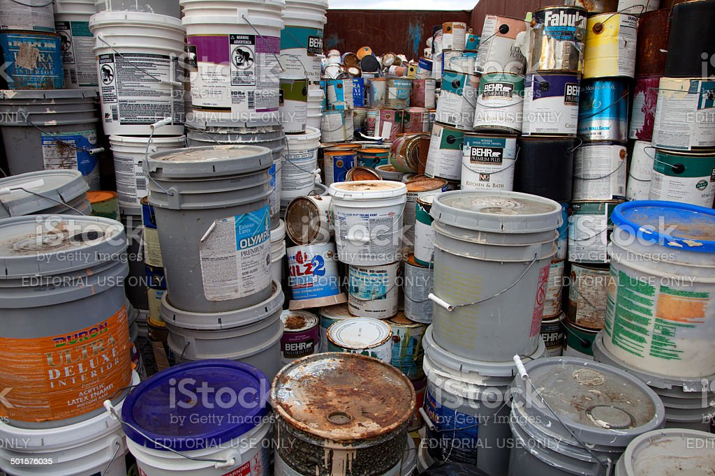 Paint bucket recycling stock photo