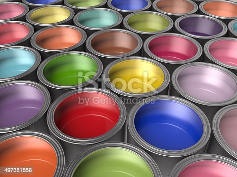 939851856 istock photo Paint Buckets Background 497381856