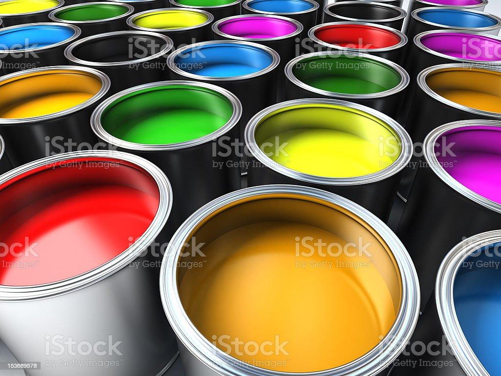 buckets de tinta - foto de acervo
